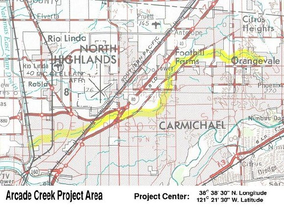 Arcade Creek Profect Area Map